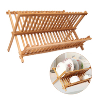 Dobrável De Bambu Prato Escorredor de pratos Escorredor de pratos Escorredor Dupla camada Escorredor De pratos de Bambu Dobrável Dobrável Cremalheira de Placa