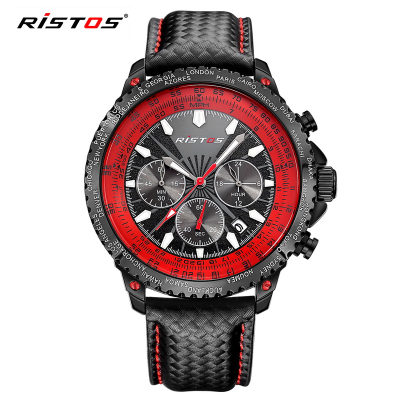 Reloj Hombre 2017 Ristos Luxury Chronograph Watches Men Luxury Brand Famous Wrist Watch For Man Clock Male Quartz-watch Relojes