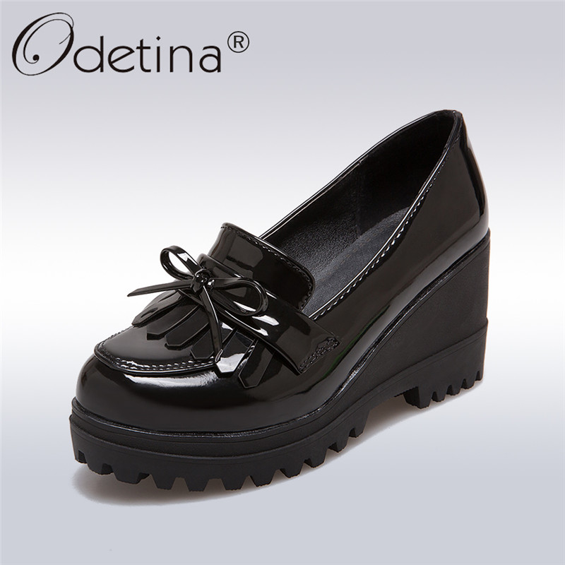 Odetina 2017 Fashion British Style Wedges Oxford Shoes For Women Slip On Round Toe Bowknot High Heel Platform Shoes Plus Size 43 nayiduyun women genuine leather wedge high heel pumps platform creepers round toe slip on casual shoes boots wedge sneakers