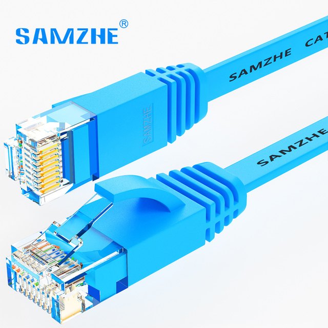 SAMZHE CAT6 Plat Ethernet Câble 250 MHz 1000 Mbps CAT 6 RJ45 Réseau Ethernet Patch Cordon LAN Câble pour Ordinateur routeur Portable