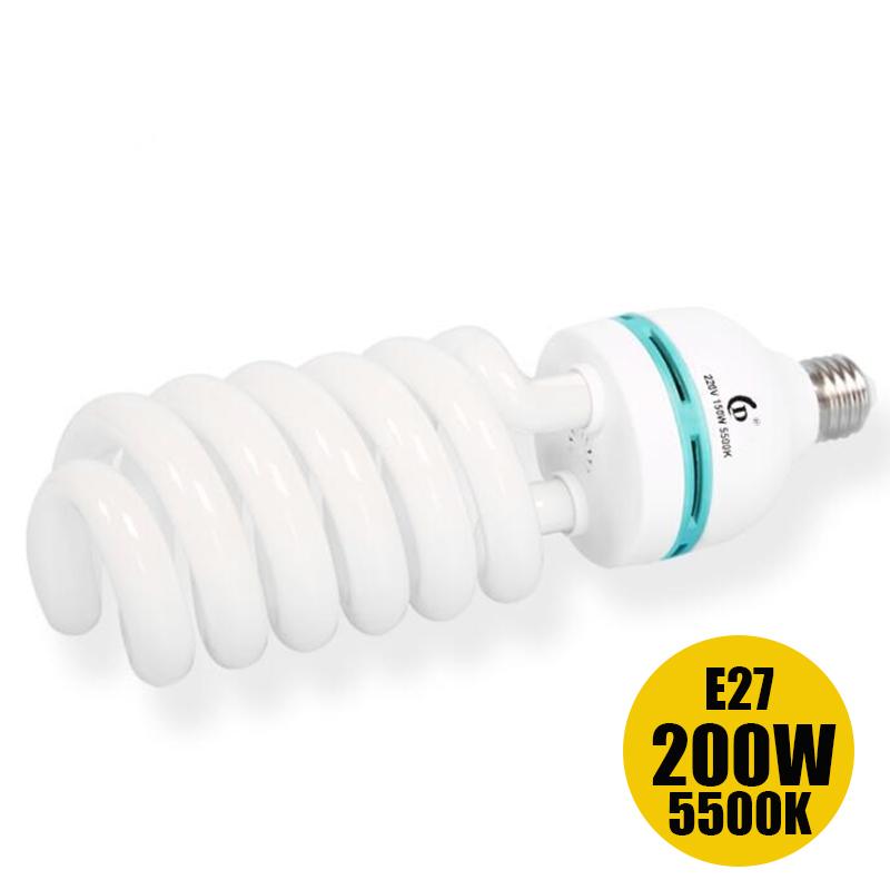 Prix pour Meilleur 200 w E27 5500 K CFL 90CRI photographie eclairage vidéo ampoule daylight équilibré energy saving lampe fluorescente studio photo
