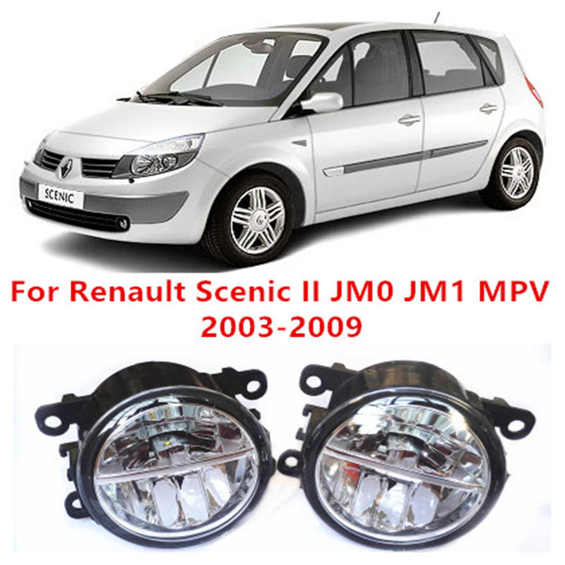 For Renault Scenic II JM0 JM1 MPV  2003-2009 10W Fog Light LED DRL Daytime Running Lights Car Styling lamps куплю тормозные колодки на renault scenic rx4