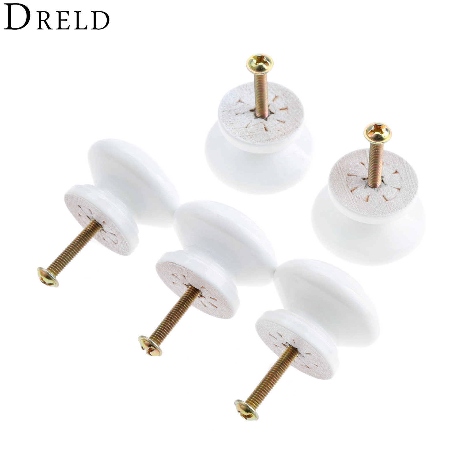 DRELD 5Pcs Wooden Furniture Handles Furniture Hardware Wood Cabinet Knobs and Handles Kitchen Drawer Wardrobe Door Pulls White ...