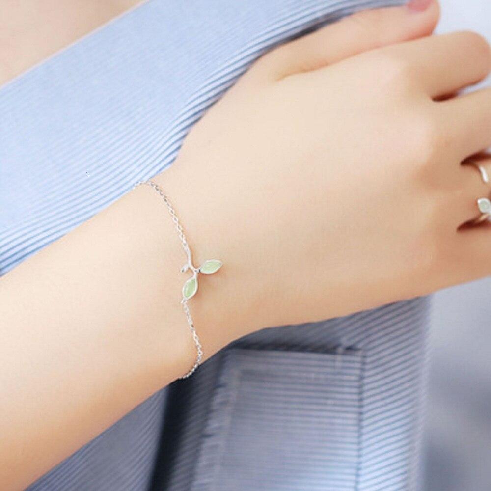 2018 New Fashion Accessories 100% 925 Sterling Silver Bracelet Leaf Charm Bracelets For Women Lovers Sterling-silver-jewelry