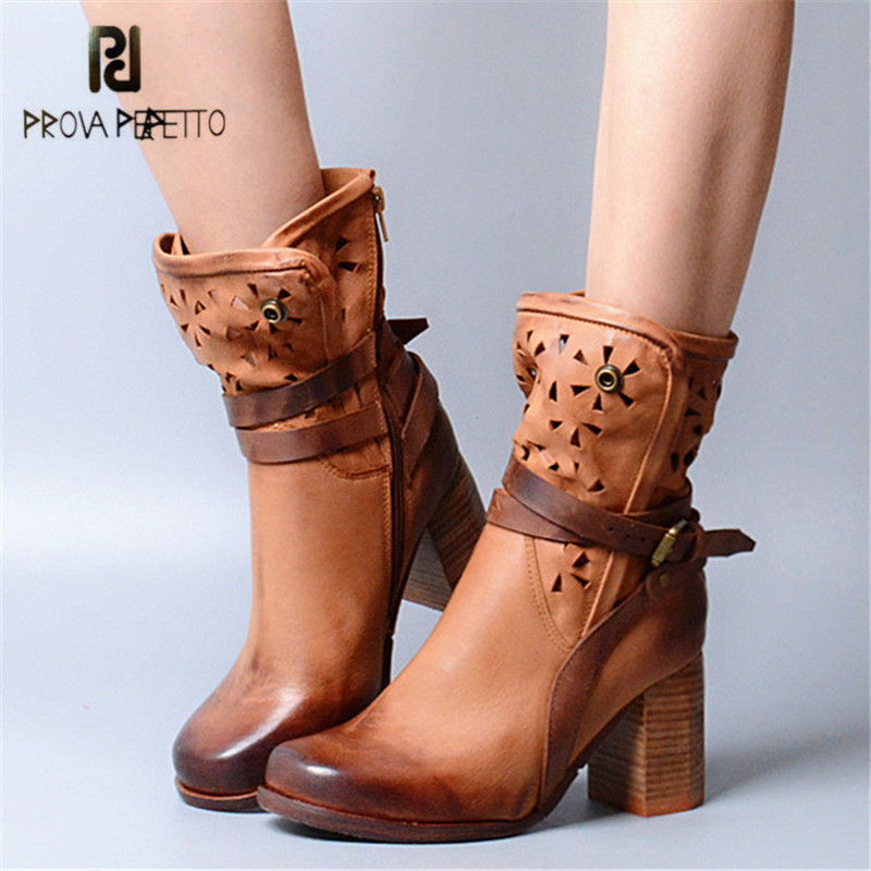 Prova Perfetto Hollow Out Women Ankle Boots Sexy Chunky High Heel Boots Genuine Leather Straps Platform Botas Mujer Women Pumps купить фотообои в интернет магазине харьков на угол