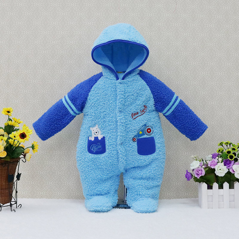 2018 Winter Newborn Coral Fleece One-Pieces Rompers Baby Clothing Girls Hoodie Fluffy Boys Clothes Toddler Warm Sleepwear cotton baby rompers set newborn clothes baby clothing boys girls cartoon jumpsuits long sleeve overalls coveralls autumn winter