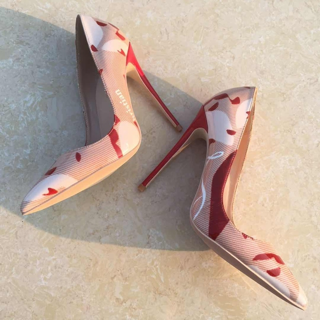 2018 Color mixing pointed toe lady pumps pu leather shallow woman High-heeled pumps sexy slip-on wedding women shoes party shoes 4