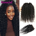 Unprocessed Virgin Curly Hair With Closure Malaysian Kinky Curly Virgin Hair 4 Bundles With Closure 7a Sew Human Hair Weave