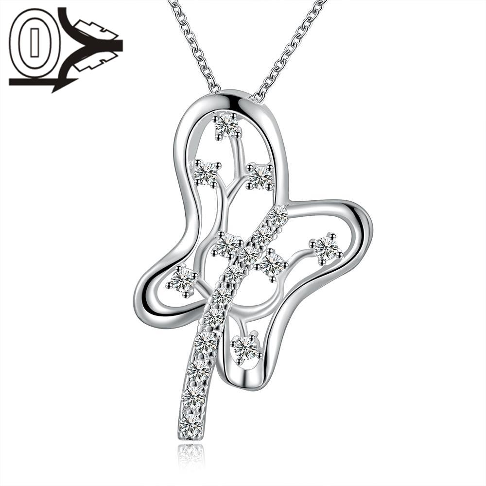 Christmas Gift Silver Plated Necklace Pendant Wedding Jewelry Accessories Guitar Flower Zircon Fashion Silver Necklaces