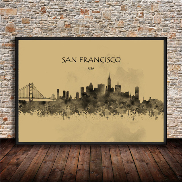 Watercolor city painting san francisco usa print krafts paper poster house decor wall sticker for living