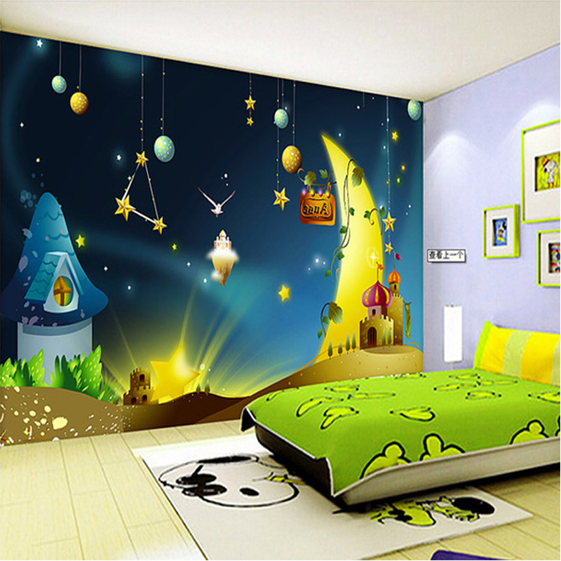 Custom 3D Mural Wallpaper Cartoon Moon Starry Sky Landscape Wallpaper Kids  Bedroom Backdrop Wall Decor Papel De Parede Infantil In Wallpapers From  Home ...