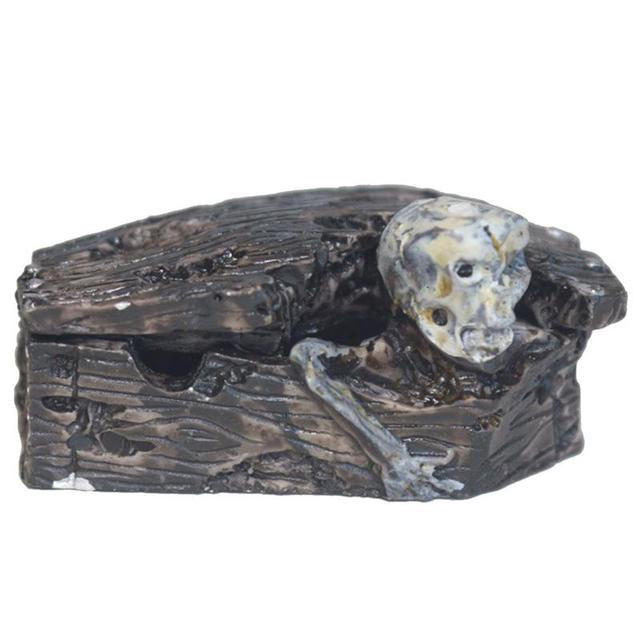 Halloween Coffin Decoration Funny Scary Skull Resin Figurine Statue
