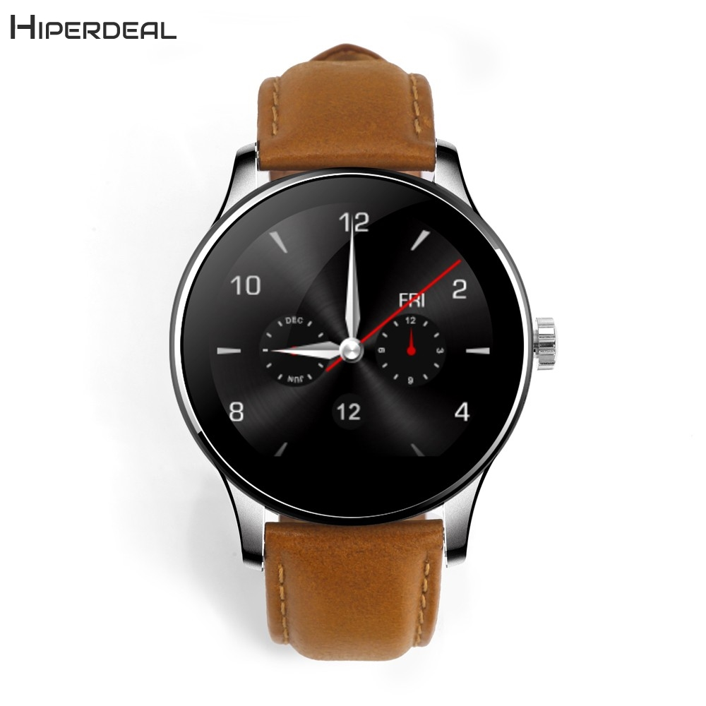 Newest K88H MTK2502C Bluetooth Connectivity Android Phone Smart Watch Heart Rate Track Wristwatch Leather Superior Quality AU25b