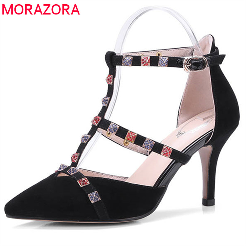 MORAZORA 2018 top quality suede leather summer shoes pointed toe women pumps buckle rivet party wedding shoes high heels shoes morazora 2018 hot sale women pumps pointed toe summer shoes genuine leather shoes buckle party shoes fashion high heels shoes