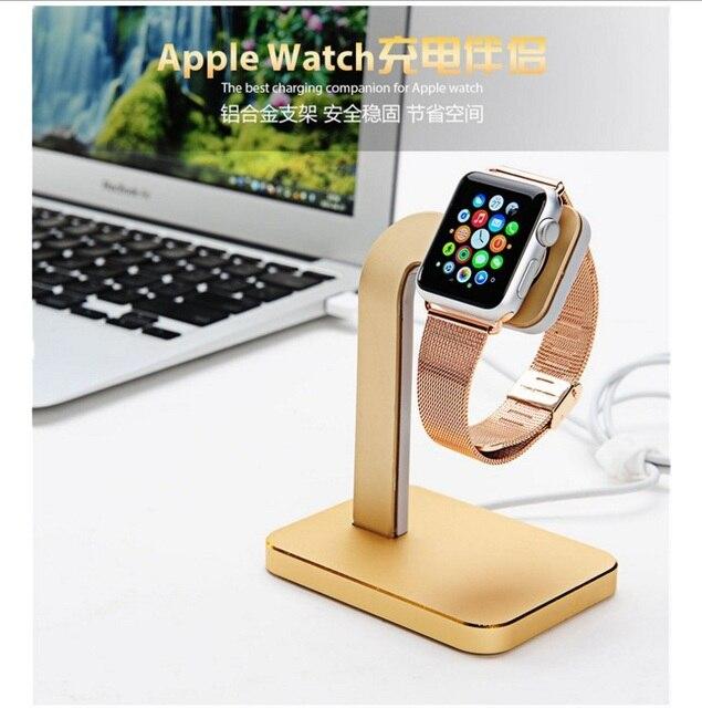 2016 de lujo del reloj de aluminio del cargador del muelle de la horquilla del sostenedor USAMS Mental soporte estación de carga del soporte del muelle para Apple reloj 38 mm 42 mm