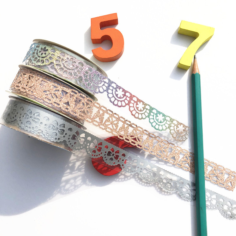 2PC Scrapbooking Decoration Glitter Lace Roll Tape DIY Photoalbum Diary Embellishments Sticky Paper Art Craft Self Adhesive Tape
