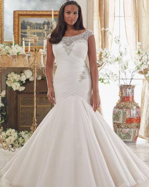 Vestido De Noiva Plus Size Bridal Gown Sexy Crystal African Wedding Dresses  Vintage Women Plus Size Mermaid Wedding Dress 2019 8339c3baef21
