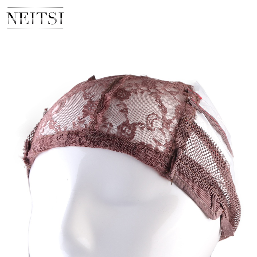 Neitsi Hot Selling Lace Wig Caps For Making Wigs With Adjustable Strap Bonnet Lace Perruque New Nylon Hairnet Brown# 1pcs/pack