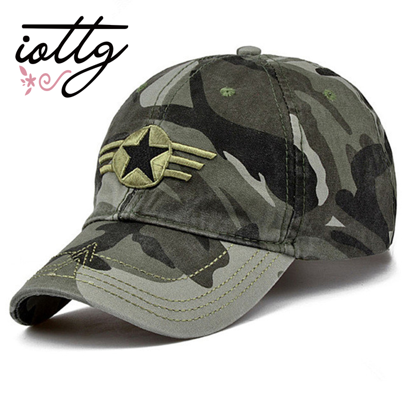 OTTG New Men Women Casual Camouflage Shade Hat Five-pointed Star Camouflage Hat Sports Baseball Cap Truck Driver Cap Snapback