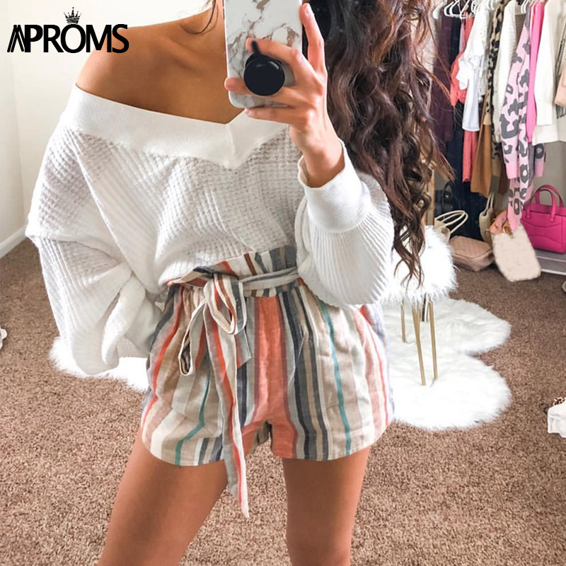 Aproms Multi Striped Ruffles   Shorts   for Women 2019 Casual High Waist Sash Tie   Shorts   Ladies Streetwear Beach Soft Bottoms Mujer