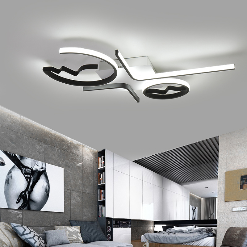 Lampe Aluminium Luminaire Led Chambre Vague À Moderne Salon De Lampara Pour Plafonnier Plafonniers Techo 5LcjA34Rq