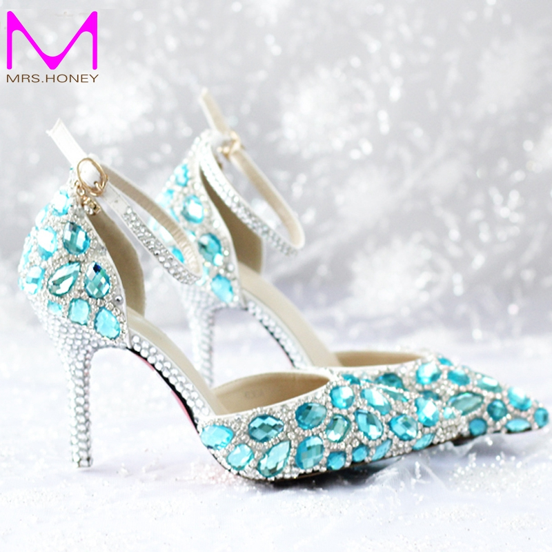 ФОТО 2016 Spring and Summer High-heel Women Wedding Shoes Pointed Toe High Heels with Ankle Strap Sapatos Femininos Blue Rhinestone