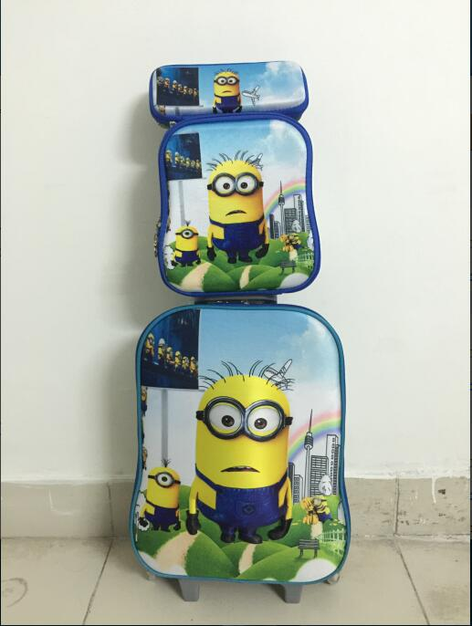 ФОТО 2016   fashion luggage   Minions  travel suitcase set  (lunch box + pen boxes+trolley luggage )16 inch luggage with wheels