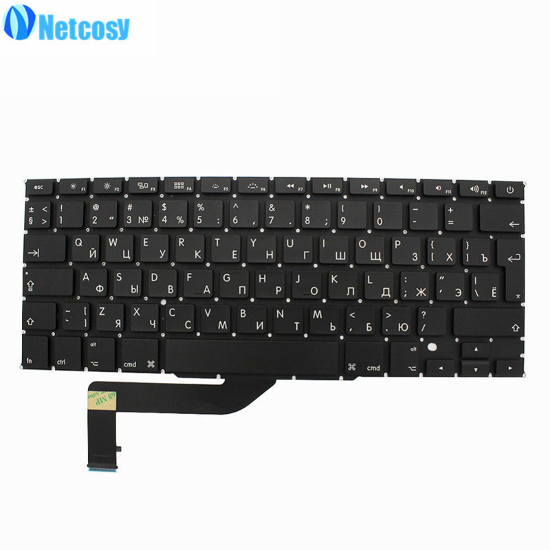 Netcosy RU Versão Teclado Preto Para Macbook RU teclado de Substituição Para Macbook Pro 15 A1398