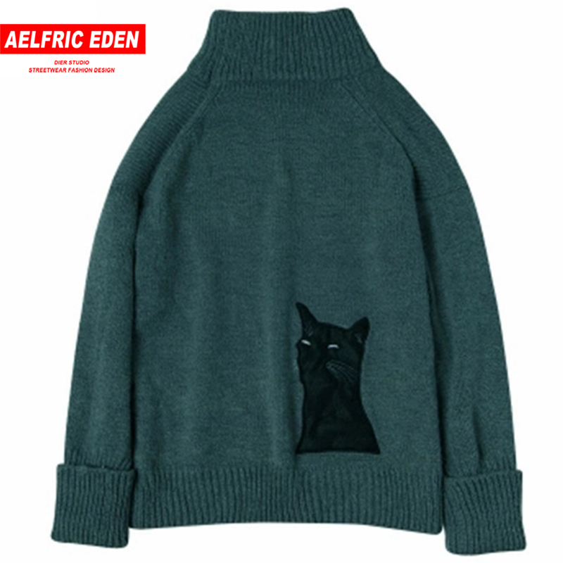 Aelfric Eden Sweater Pullover Men 2017 Male Brand Casual Slim Cat Patchwork Fishbone Embroidery Man Knitted Cotton Sweaters S004