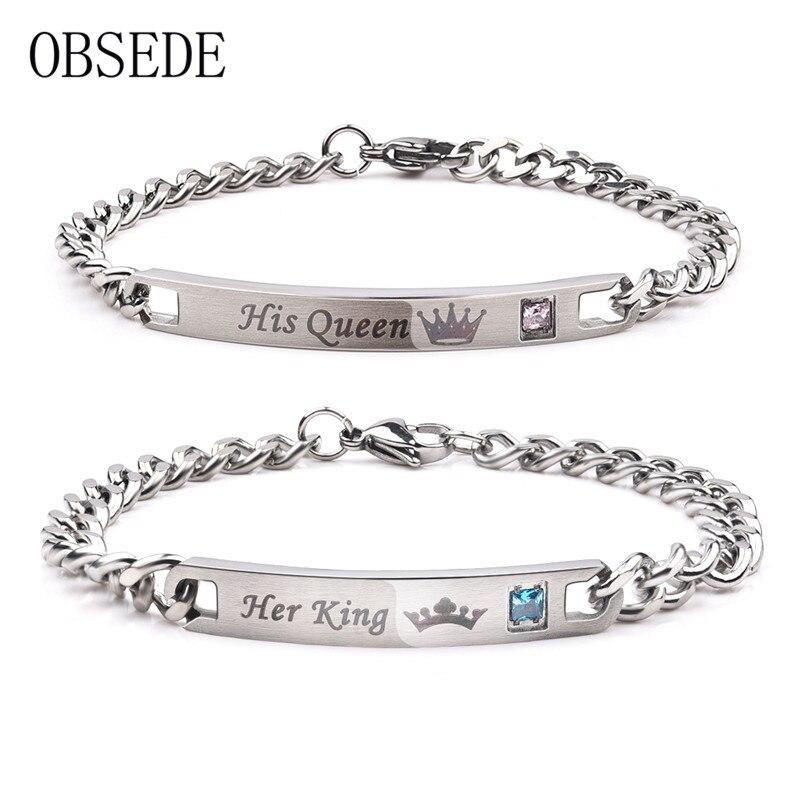 a5947eee48e0 OBSEDE moda su rey su Reina pareja pulseras plata Color acero inoxidable  corona cristal brazaletes para Mujeres Hombres joyería