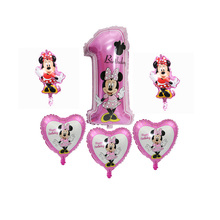 ФОТО 6pcs minnie ball new cartoon style aluminum balloon baby 1 birthday party decoration decorative inflatable toys self-sealing