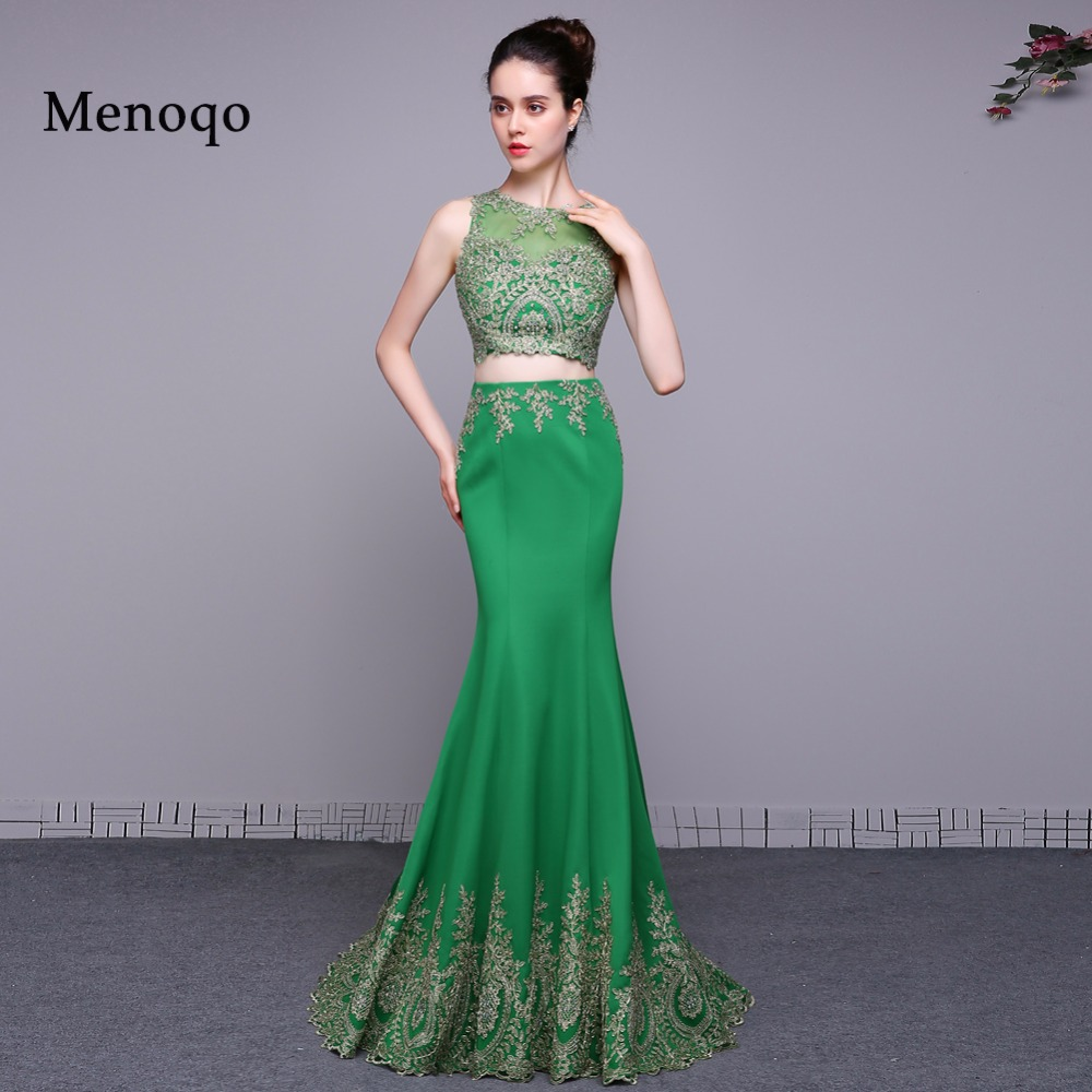 Real Photos Two Piece Green Prom Dresses 2018 Vestidos De Graduacion ...