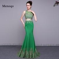 Real Photos Two Piece Green Prom Dresses 2018 Vestidos De Graduacion Junior Long Party Dresses Sexy Women Formal Evening Gowns