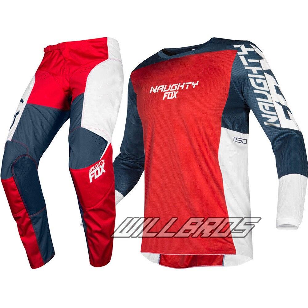 2019 MX 180 Prizm bleu marine rouge Jersey pantalon Motocross Dirt bike tout-terrain adulte équipement de course ensemble