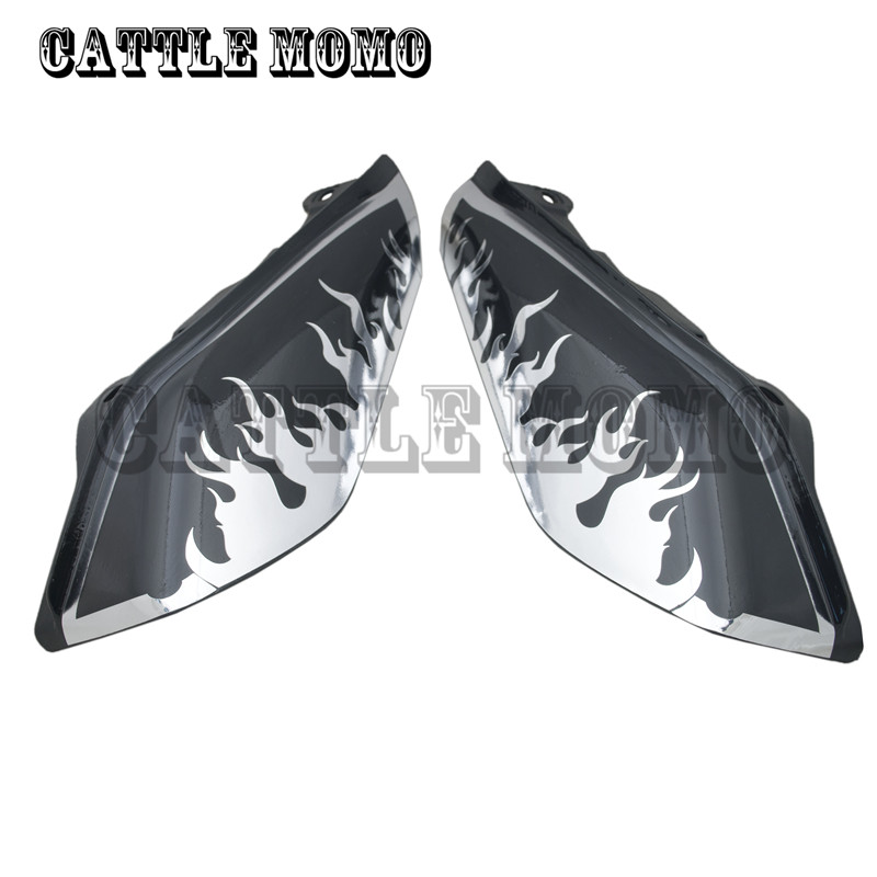ФОТО Air Deflectors with Flame decals Chrome For Touring Street Glide Motorcycle Accessories ABS Motorcycle Air Deflectors