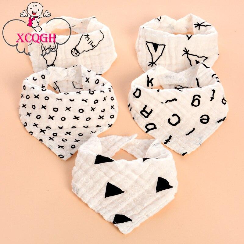 XCQGH Gauze Bib Baby Bibs Burp Cloth Lovely Triangle Bib Four Layer Printing Boys Girls Saliva Towel Baby Bandana Dribble Bibs