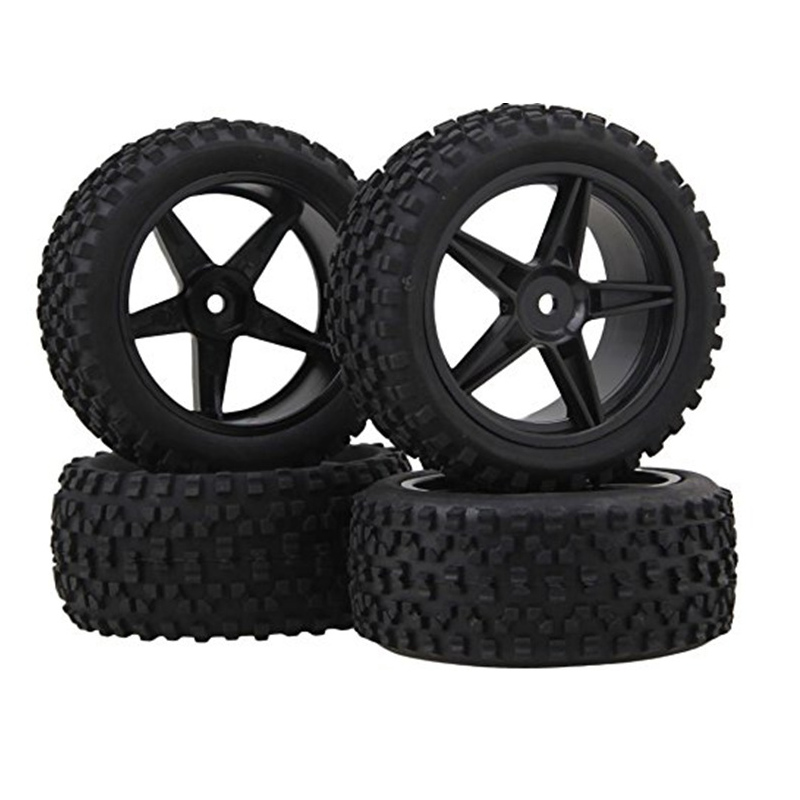 4PCS Wheel Rim & Tires Set for 1/10 RC Short-Course Truck Traxxas Slash HPI RC Model Car Square nail type сто пудов спортклуб