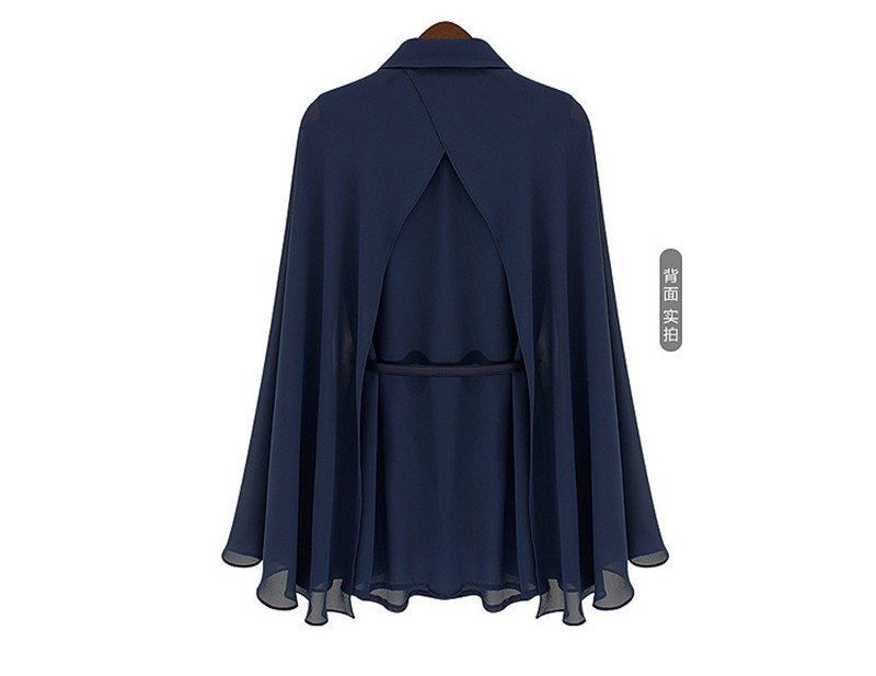 vestidos de fiesta Womens Chiffon Cloak Blouse Shirts Tops Elegant Navy Blue Beige Chiffon Cloak Sunscreen Tops Ladies Fashion  (23)