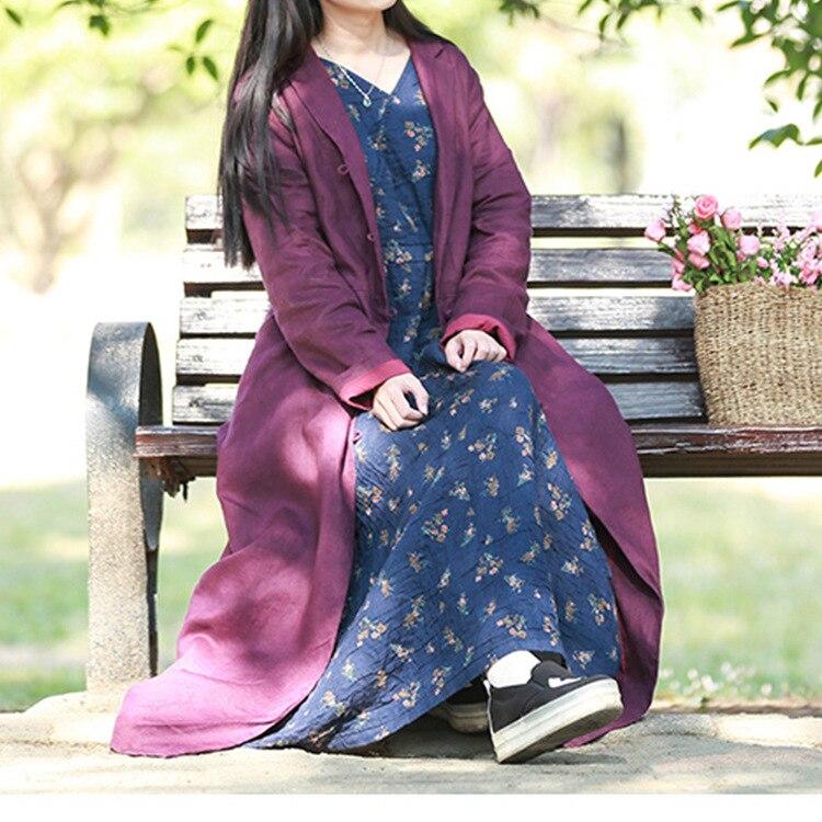 Poitrine Rétro Coton Lâche Long Couleur Pourpre Outwear Manteau Unique Vintage Lin Dames Solide bourgogne Tranchée Pardessus Femmes qgwtg