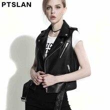 Ptslan Women s Genuine Leather Jacket Real Leather Vest Lambskin Vest Sleeveless Coat Outwear