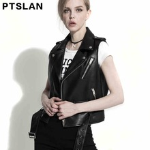 Ptslan Women's Genuine Leather Jacket Real Leather Vest Lambskin Vest Sleeveless Coat Outwear