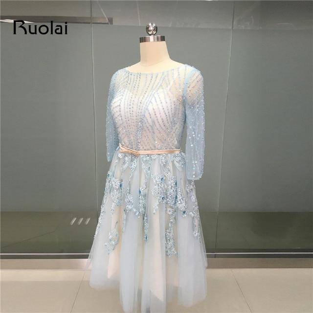 Echt bild Hellblau Scoop Dreiviertel Sleeves Short Prom Kleider ...