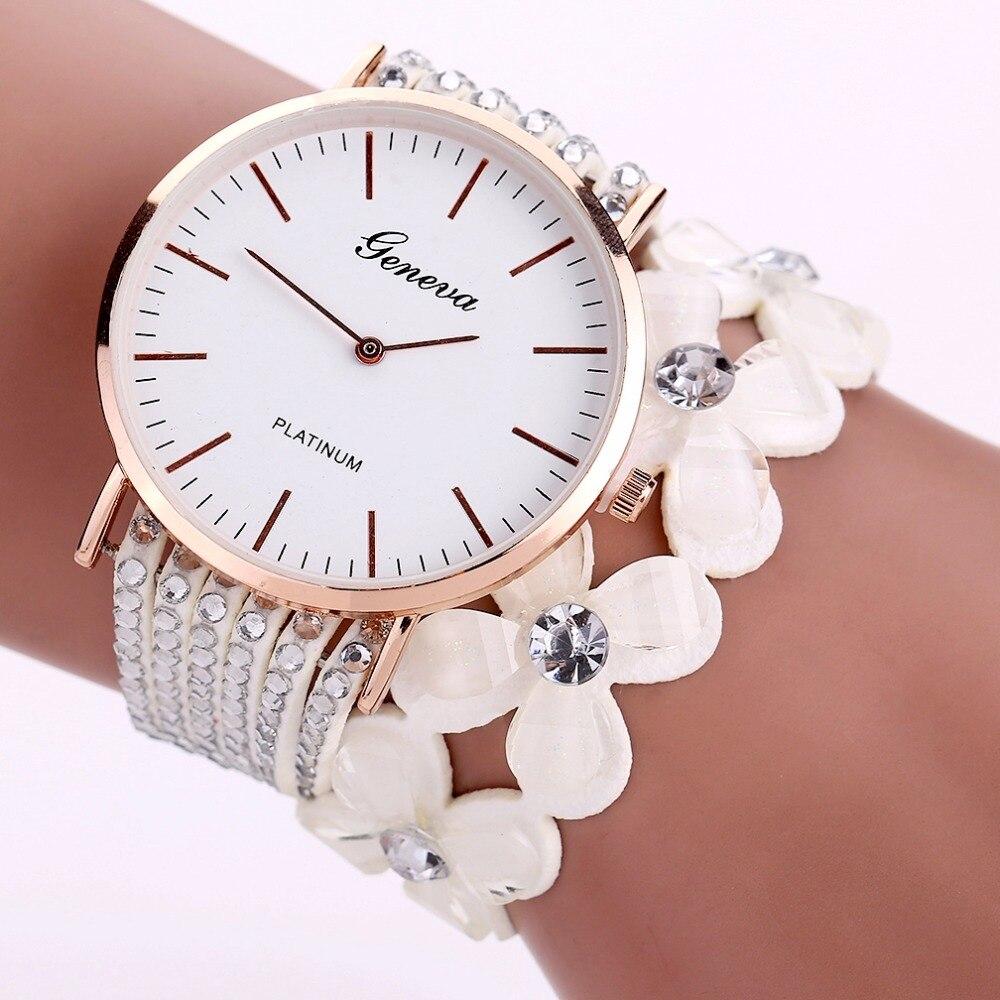 Мода Женева Креативные часы Для женщин Повседневное элегантные кварцевые браслет женские часы С кристалалми и стразами наручные часы пода...