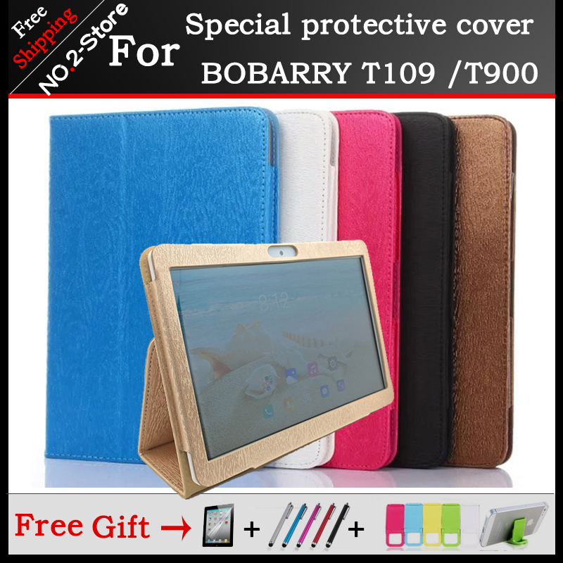 Fashion 2 fold Folio PU leather Stand cover case For BOBARRY T109 /T900 10.1inch tablet 6 colors optional+Protective film