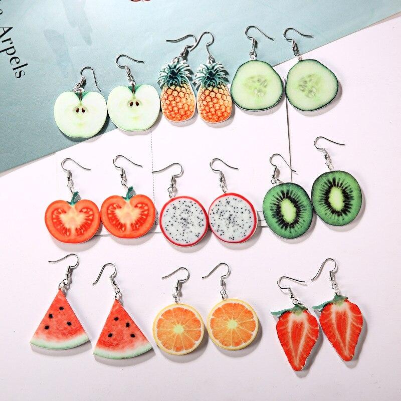 Acrylic Apple Pineapple Cute Fruit Drop Earrings Tomato Dragon  Kiwi Orange Cucumber Fruit Earrings Dainty Gift