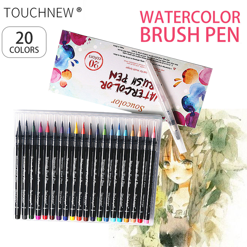 TOUCHNEW Brush  20 Colors Premium Art Brush Marker Pen Soft Flexible Watercolor Markers Set Children Coloring Manga Calligraphy 20 color premium painting soft brush pen set watercolor art copic markers pen effect best coloring books manga comic calligraphy