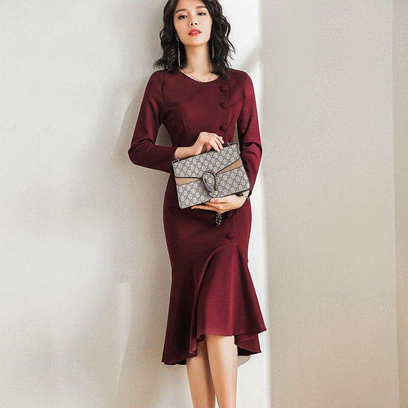 2019 Femme Nouveau Red Kj1745 Élégante Vêtements Mujer Vintage Parti Mode Bureau Robe Printemps Coréenne Pour Wine Midi XUXdarqw