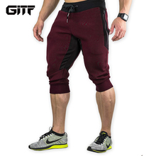 GITF Men's Sports Gym Athletic Shorts Middle trousers elastic band zipper pocket sports man middle soft cotton blend Running