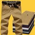 Novo 2017 outono 100% de alta lavagem com água calça casual homens magros fit homens calças retas plus size 42 calças calças de carga/XXK5