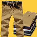 Nuevo 2017 otoño 100% de alta de lavado con agua pantalones casuales hombres slim fit hombres rectos de los pantalones más tamaño 42 pantalones de carga/XXK5